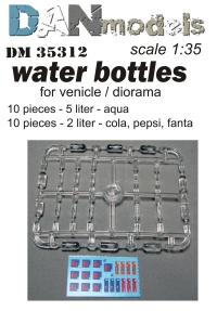 Набор ПЭТ-бутылок для диорам. 20 шт + декаль Пепси, Кола, Фанта