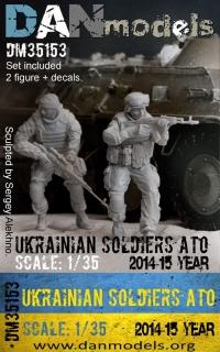 Украинские солдаты. 2014-2017 Украина. АТО. Набор №4 - 2 фигуры (смола) + шеврон (декаль)