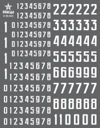 Цифры для бронетехники. Вариант 1. Высота: 5,04/5,76/9,36 мм. СССР, Россия, другие страны.