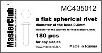 Плоская сферическая заклепка, диаметр-0.5mm; диаметр отверстия для монтажа-0.4mm; 180 шт.